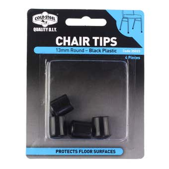 Cold Steel Round Plastic Chair Tips Black 13mm - 4 Pack
