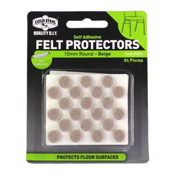 Cold Steel Felt Protectors Round Beige 10mm - 84 Pack