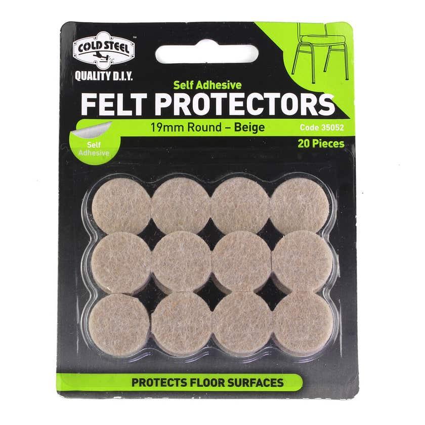 Cold Steel Felt Protectors Round Beige 19mm - Pack 20
