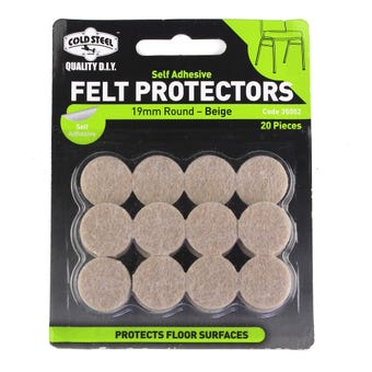 Cold Steel Felt Protectors Round Beige 19mm - Pack 20
