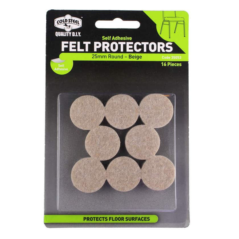 Cold Steel Felt Protectors Round Beige 25mm - 16 Pack
