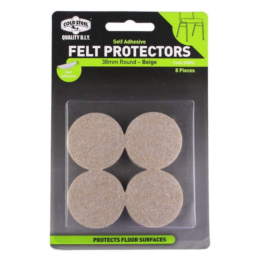 Cold Steel Felt Protectors Round Beige 38mm - 8 Pack