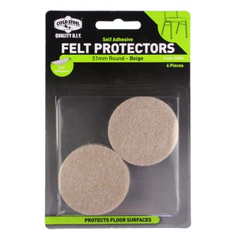 Cold Steel Felt Protectors Round Beige 51mm - 6 Pack