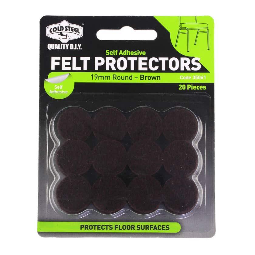 Cold Steel Felt Protectors Round Brown 19mm - 20 Pack