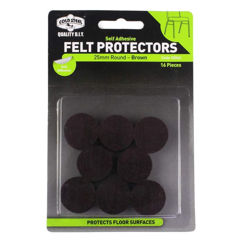 Cold Steel Felt Protectors Round Brown 25mm - 16 Pack