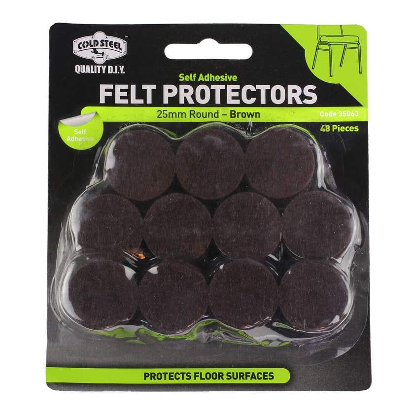 Cold Steel Felt Protectors Round Brown 25mm - 48 Pack