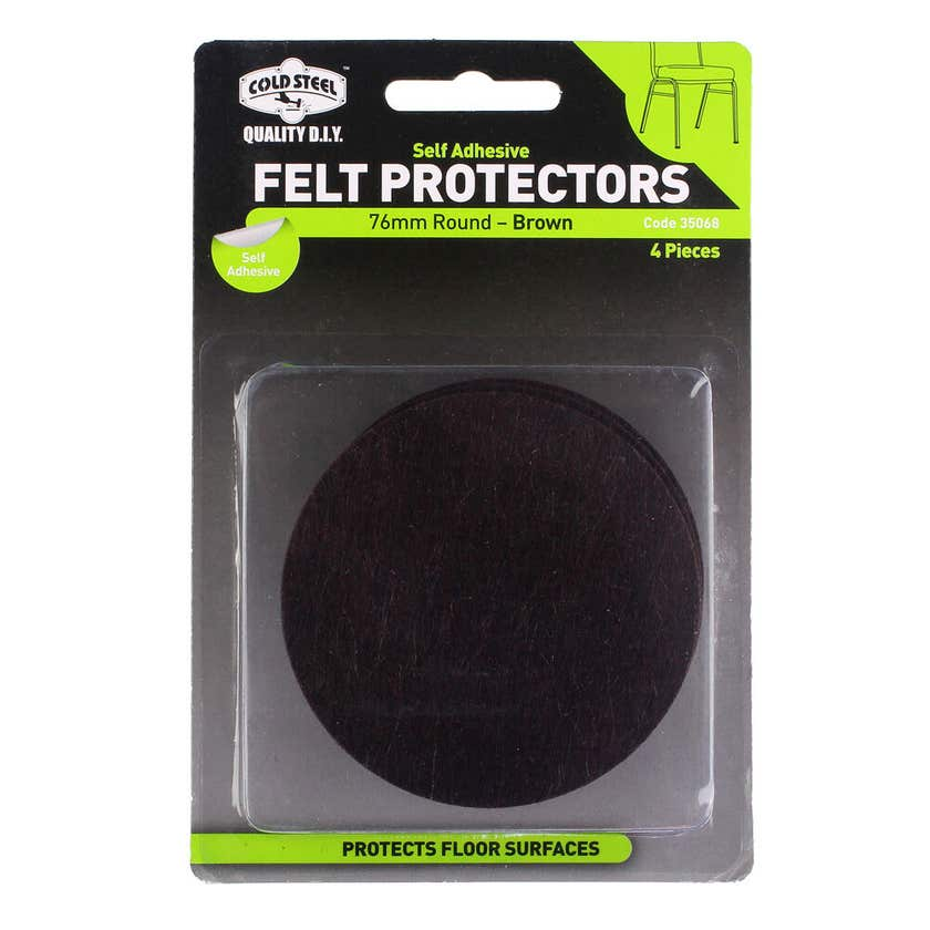 Cold Steel Felt Protectors Round Brown 76mm - 4 Pack