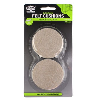 Cold Steel Felt Cushions Round Beige 64 x 15mm - 4 Pack