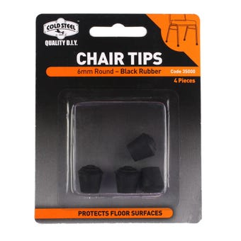 Cold Steel Chair Tips Round Black Rubber 6mm - 4 Pack