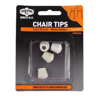 Cold Steel Chair Tips Round White Rubber 6mm - 4 Pack