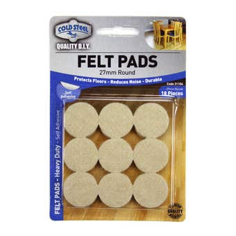 Cold Steel Felt Pads Round Heavy Duty Beige 27mm - 18 Pack