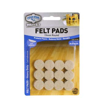 Cold Steel Felt Pads Round Heavy Duty Beige 19mm - 24 Pack