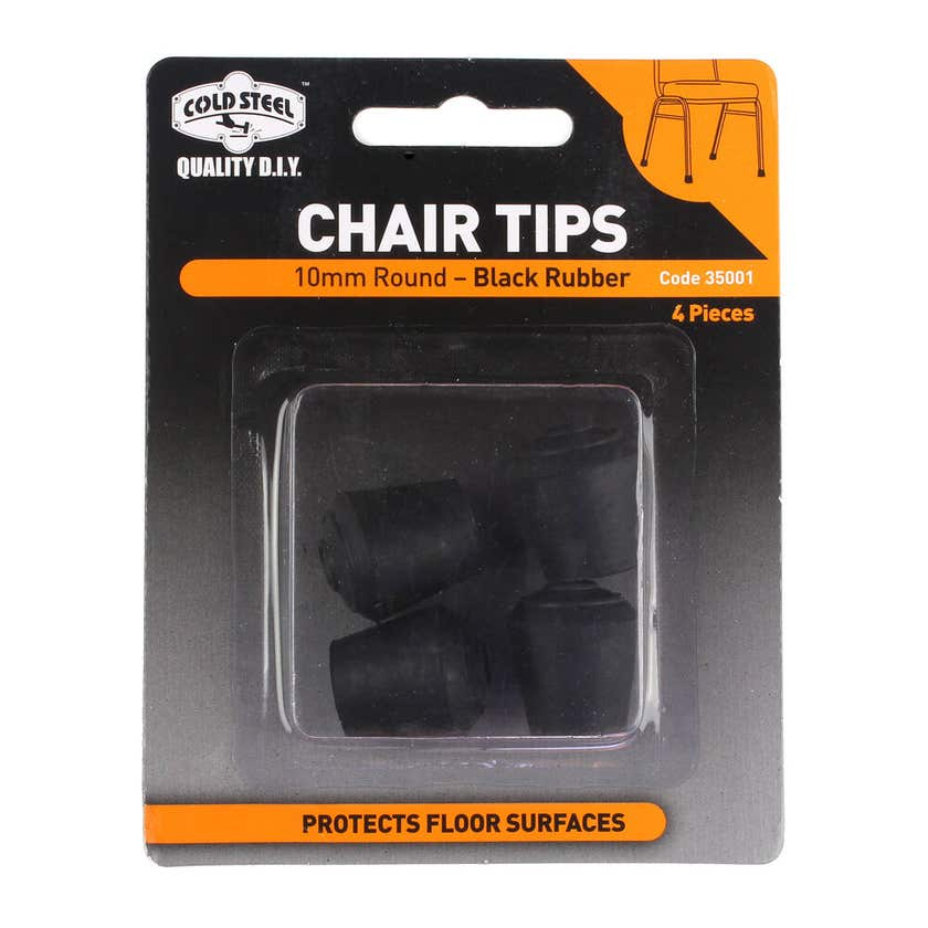 Cold Steel Chair Tips Round Black Rubber 10mm - 4 Pack