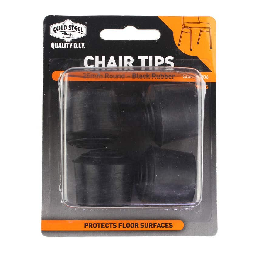 Cold Steel Chair Tips Round Black Rubber 25mm - 4 Pack