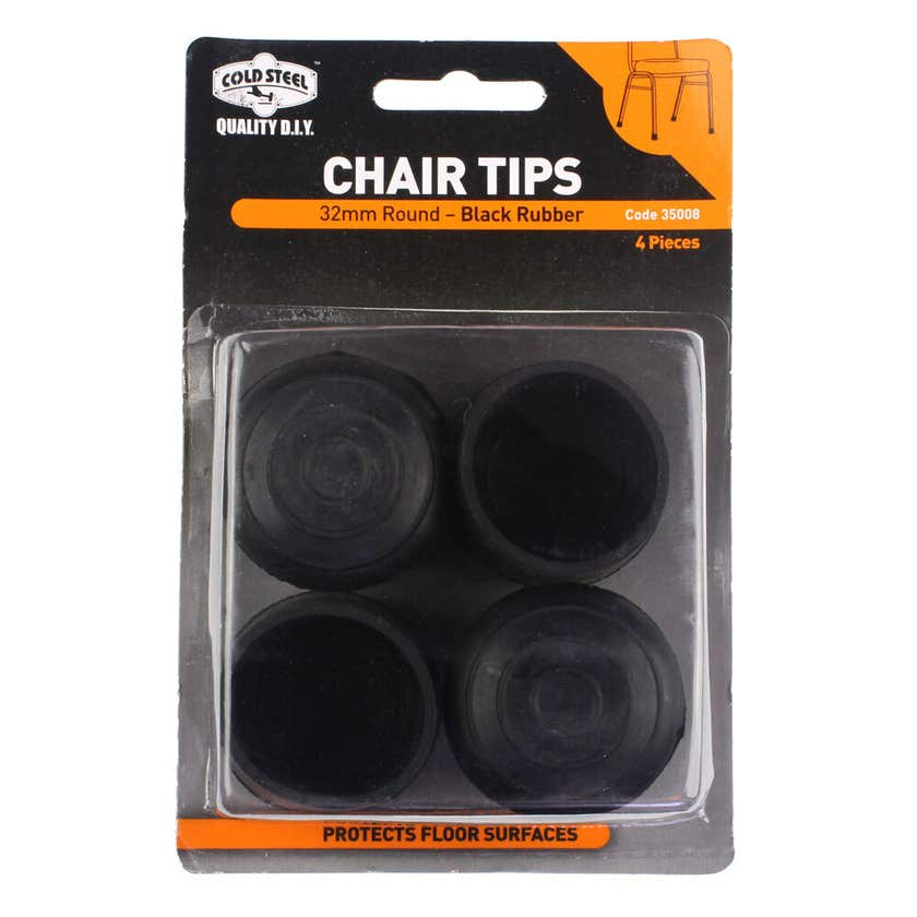 Cold Steel Chair Tips Round Black Rubber 32mm - 4 Pack