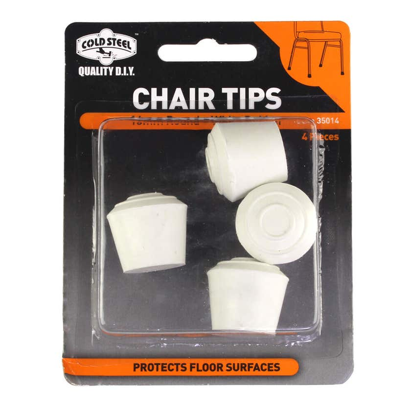 Cold Steel Chair Tips Round White Rubber 16mm - 4 Pack