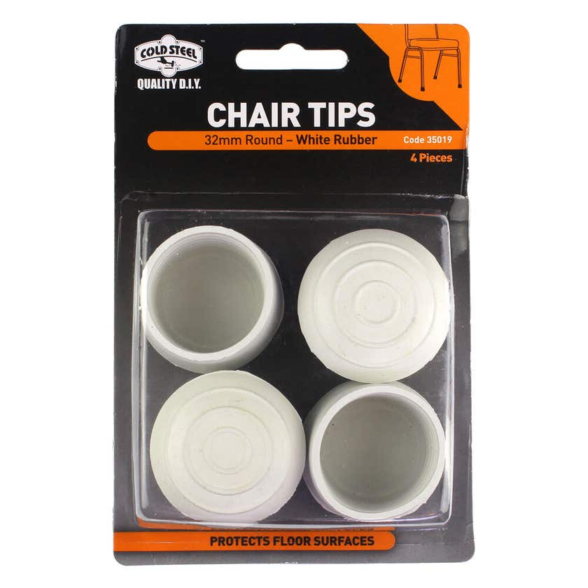 Cold Steel Chair Tips Round White Rubber 32mm - 4 Pack