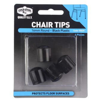 Cold Steel Round Plastic Chair Tips Black 16mm - 4 Pack