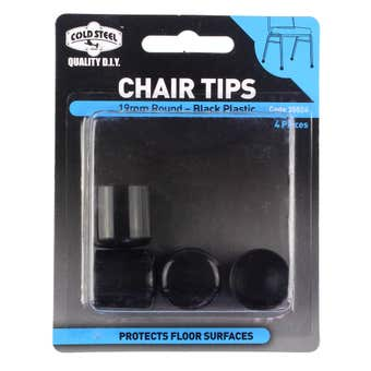 Cold Steel Round Plastic Chair Tips Black 19mm -4 Pack