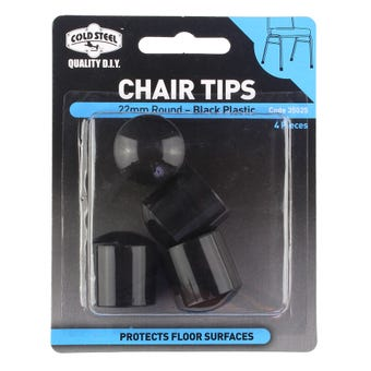 Cold Steel Chair Tips Round Black Plastic 22mm - 4 Pack