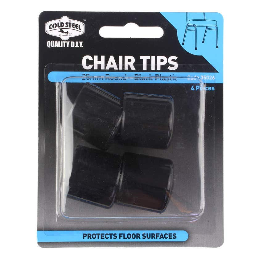 Cold Steel Chair Tips Round Black Plastic 25mm - 4 Pack