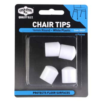 Cold Steel Round Plastic Chair Tips White 16mm - 4 Pack