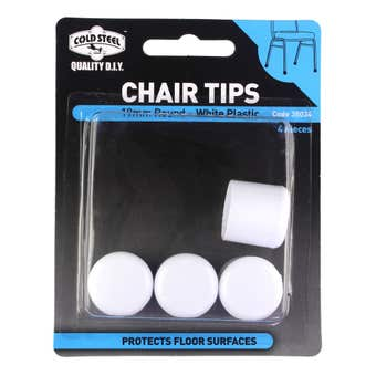 Cold Steel Round Plastic Chair Tips White 19mm - 4 Pack