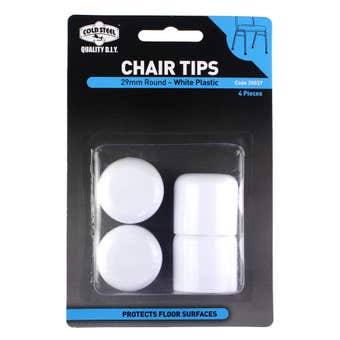 Cold Steel Chair Tips Round White Plastic 29mm - 4 Pack