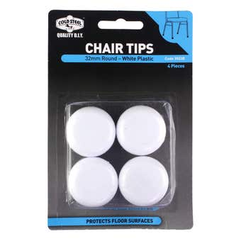 Cold Steel Round Plastic Chair Tips White 32mm - 4 Pack