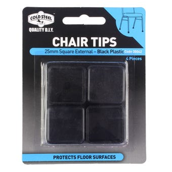 Cold Steel Chair Tips Square External Black Plastic 25mm - 4 Pack