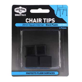 Cold Steel Chair Tips Square Internal Black Plastic 20mm - 4 Pack