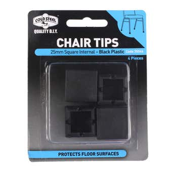 Cold Steel Chair Tips Square Internal Black Plastic 25mm - 4 Pack