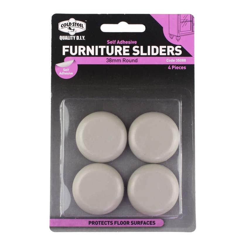 Cold Steel Furniture Sliders Round Plastic 38mm - 4 Pack