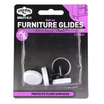 Cold Steel Furniture Glides White Plastic Nail-On 25mm - 4 Pack