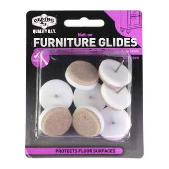Cold Steel Furniture Glides Felt Nail-On Beige 25mm - 8 Pack