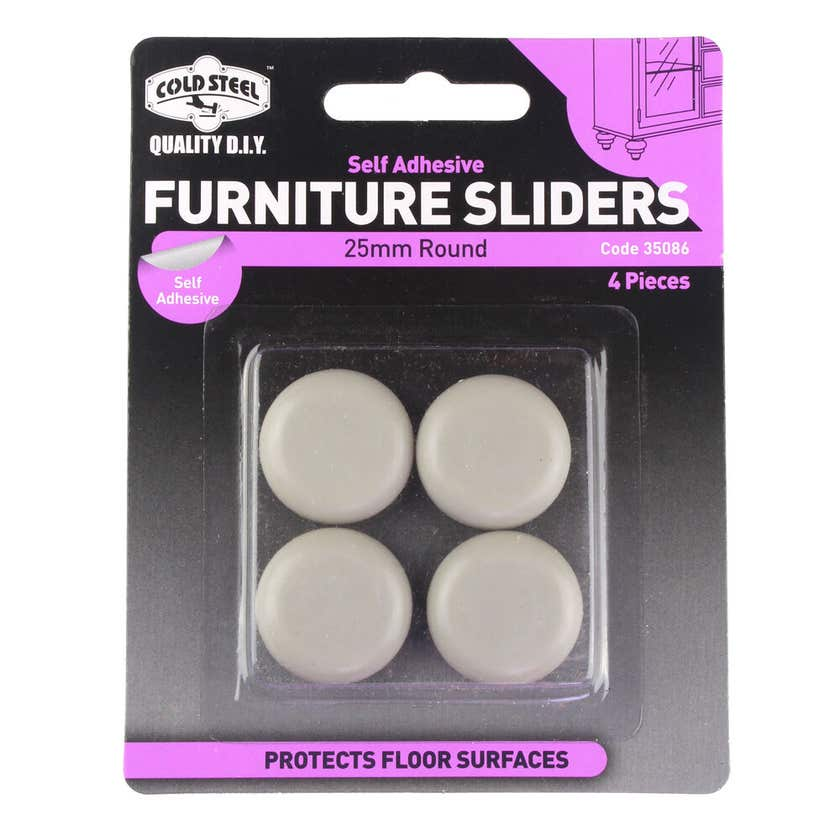Cold Steel Furniture Sliders Round Plastic 25mm - 4 Pack
