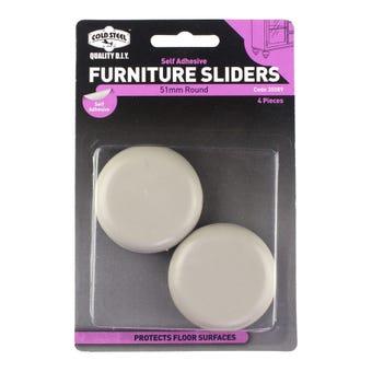 Cold Steel Furniture Sliders Round Plastic 51mm - 4 Pack