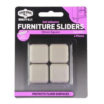 Cold Steel Furniture Sliders Square Plastic 25mm - 4 Pack
