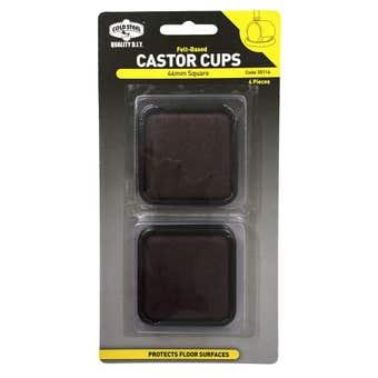 Cold Steel Castor Cups Felt Based Square 44mm - 4 Pack