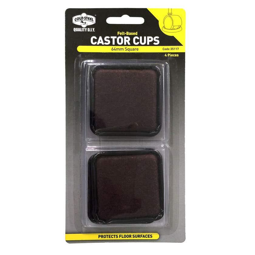 Cold Steel Castor Cups Felt Based Square 64mm - 4 Pack