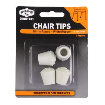 Cold Steel Chair Tips Round White Rubber 10mm - 4 Pack