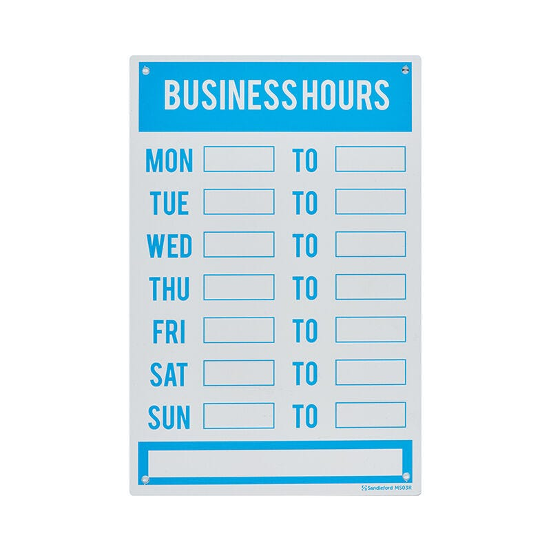 Sandleford Business Hours Sign Medium