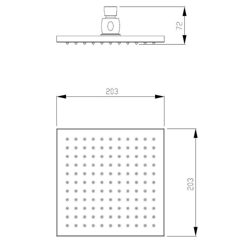 Interbath Rio Square Showerhead Chrome 200mm
