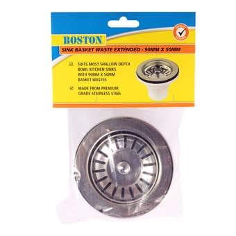 BOSTON Sink Basket Waste Extended Stainless Steel 50mm