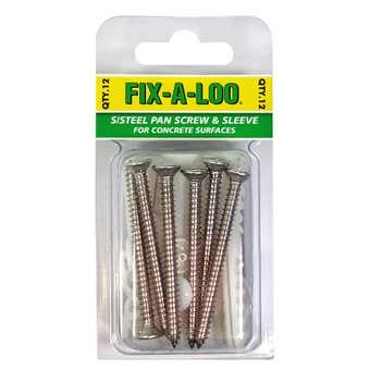 FIX-A-LOO Stainless Steel Pan Screw & Sleeve 12 Pack