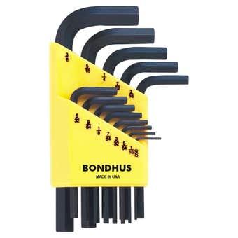 Bondhus Hex End L-Wrench Hex Key Set Imperial Short - 13 Piece