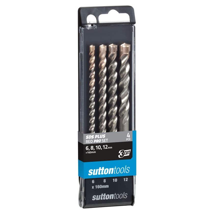 Sutton Tools Masonry Drill Bit Set 3 Cut SDS Plus Reo Pro - 4 Piece