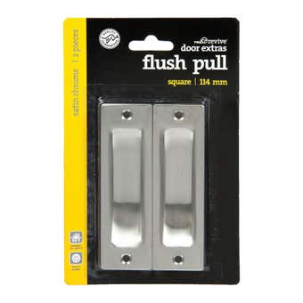Trio Square Flush Pull Satin Chrome 114mm