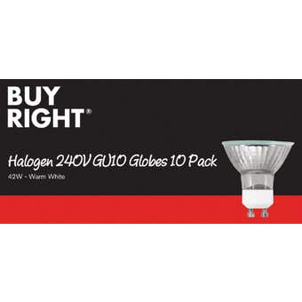 Buy Right Halogen Globe GU10 42W Warm White - 10 Pack