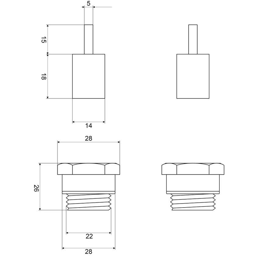 Mildon Spindle Extension 15mm Pair